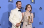 Исполнители главных роле в картине La La Land, получившей наибольшее число номинаций на «Золотой глобус»,  Райан Гослинг и Эмма Стоун. Фото: Фото: К.Винтер/Getty Images.