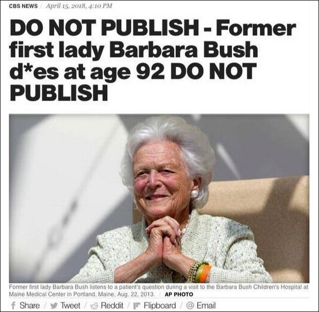 Телеканал CBS по ошибке сообщил о смерти экс-первой леди США Барбары Буш