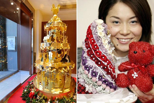Золотая елка, которую создал японский ювелир Гинза Танака (слева) и Цветочная елка, созданная при участии французского цветочного бутика Claude Quincaud.