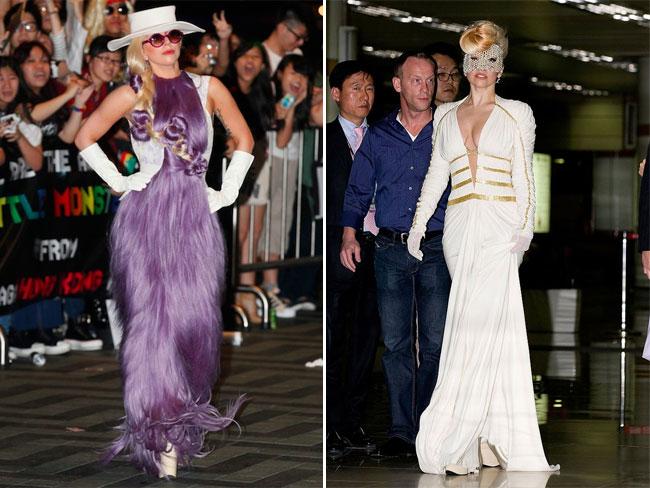 Леди Гага в Гонконге (слева) и в Сеуле.