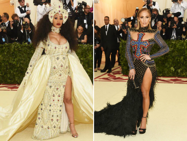 Cardi B и Дженнифер Лопес на Met Gala 2018. Фото: JAMIE MCCARTHY/GETTY IMAGES//AMIE MCCARTHY/GETTY IMAGES