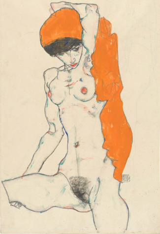 Egon Schiele 'Standing Nude with Orange Drapery», 1914. (The Metropolitan Museum of Art, Bequest of Scofield Thayer, 1982)