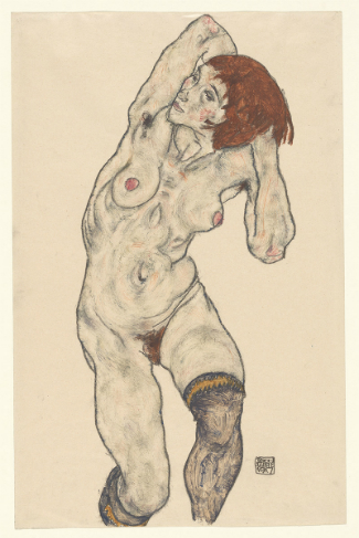 Egon Schiele 'Standing Nude in Black Stockings', 1917. (The Metropolitan Museum of Art, Bequest of Scofield Thayer, 1982)
