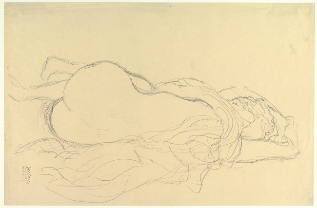 Gustav Klimt 'Reclining Nude with Drapery, Back View', 1917–1918. (The Metropolitan Museum of Art, Bequest of Scofield Thayer, 1982)