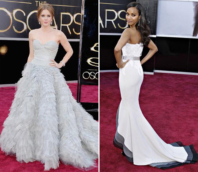 Эми Адамс в Oscar de la Renta и Зои Салдана в Alexis Mabille Couture