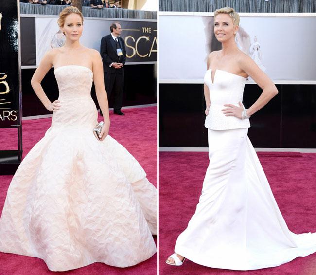 Дженнифер Лоуренс и Шарлиз Терон в Dior Couture