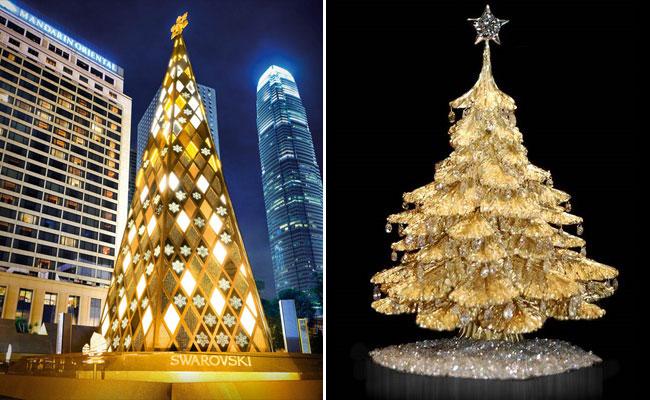 Рождественская ель от компании Swarovski (слева) и Благотворительная елка от американского ювелира Стива Квика