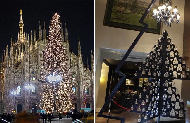 Рождественская ель от Tiffany в Милане (слева) и елка с бутылочками коньяка Louis XIII вместо шариков в лондонском отеле Sofitel