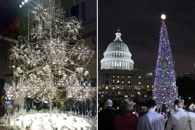Бриллиантовая елка от сингапурского ювелирного дома Soo Kee (слева) и рождественская ель  у вашингтонского Капитолия.
